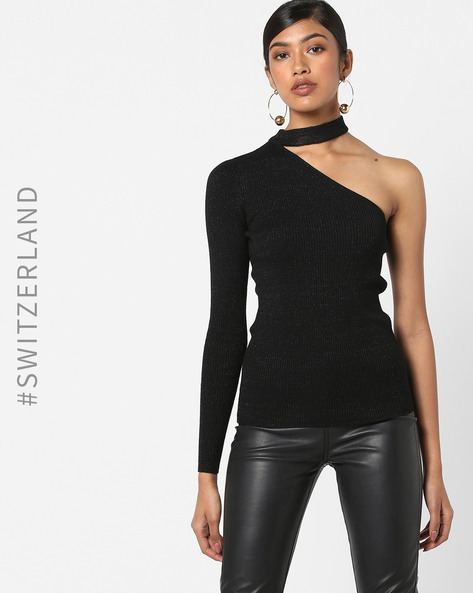 One-Sleeve Pullover With Choker Neckline By TALLY WEiJL ( Black )