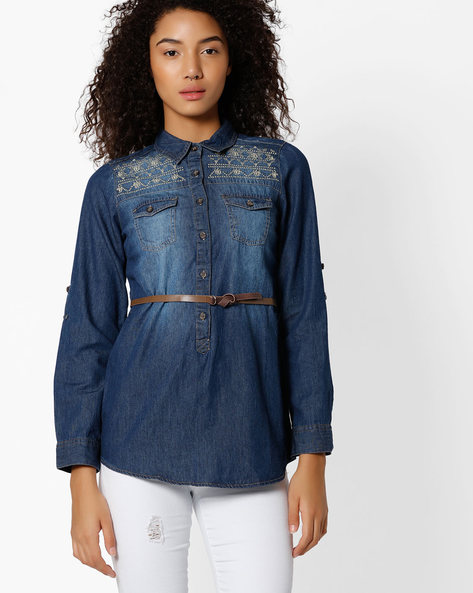 Denim Shirt With Roll-Up Sleeve Tabs By DNM X ( Darkblue )