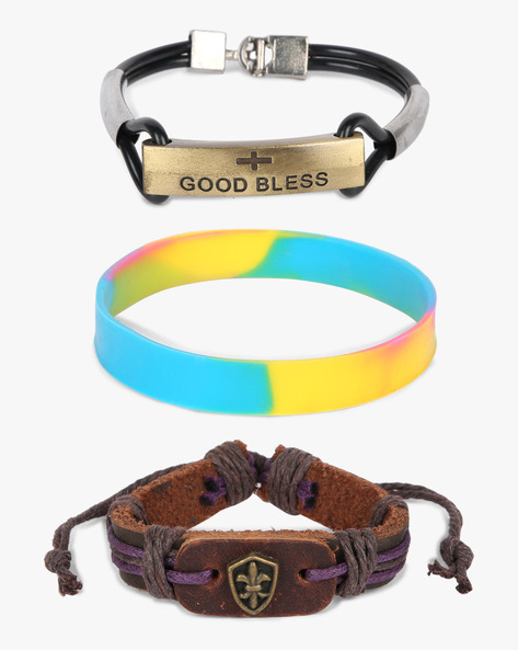 Set Of 3 Bracelets By ALPHA MAN ( Purple )