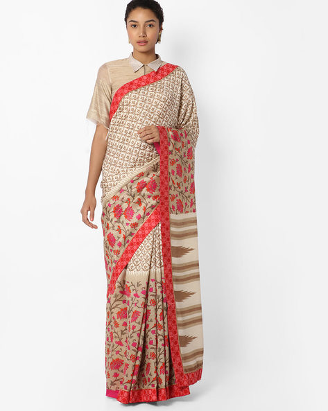 Floral Printed Saree With Contrast Border By VIPUL ( Beige )