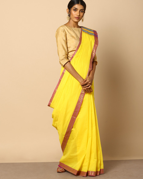 South Cotton Striped Saree With Zari Border By Indie Picks ( Yellow )