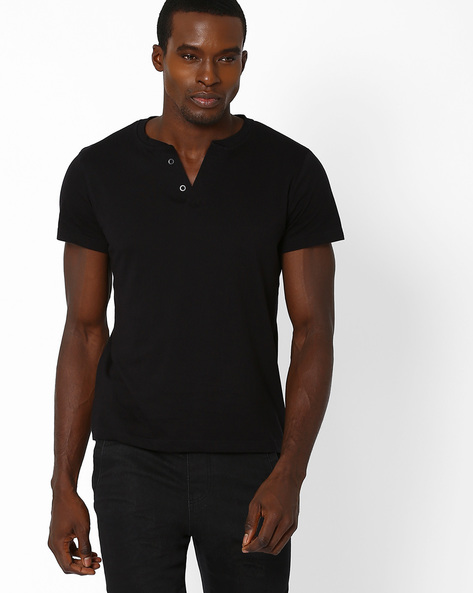 Cotton Henley Slim Fit T-shirt By Blue Saint ( Black )