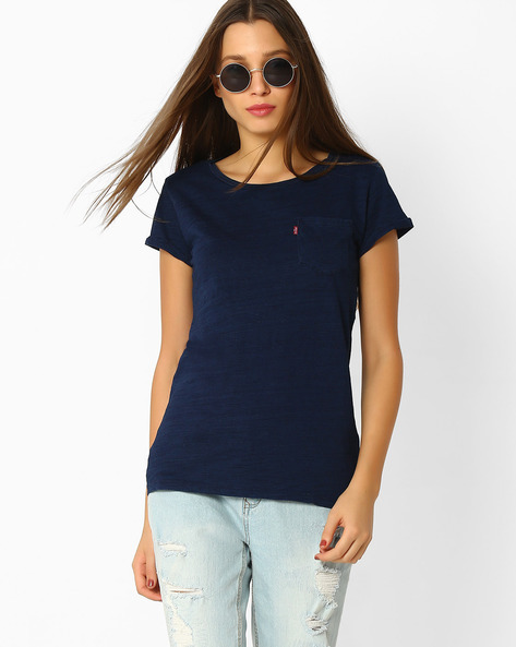 Crew-Neck Top With Patch Pocket By LEVIS ( Blue )