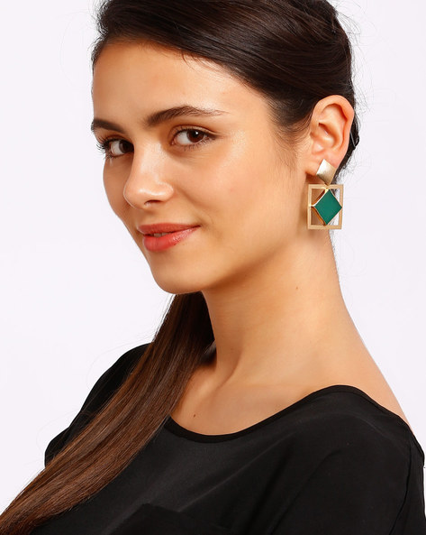 Green & Gold-Plated Drop Earrings By Ssoul ( Darkgreen )