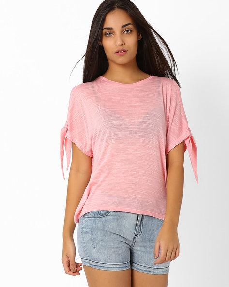 Slub Top With Tie-Up Sleeves By CHEMISTRY ( Pink )
