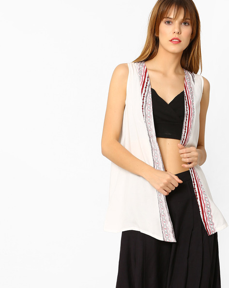 Open-Front Sleeveless Jacket By Global Desi ( White )