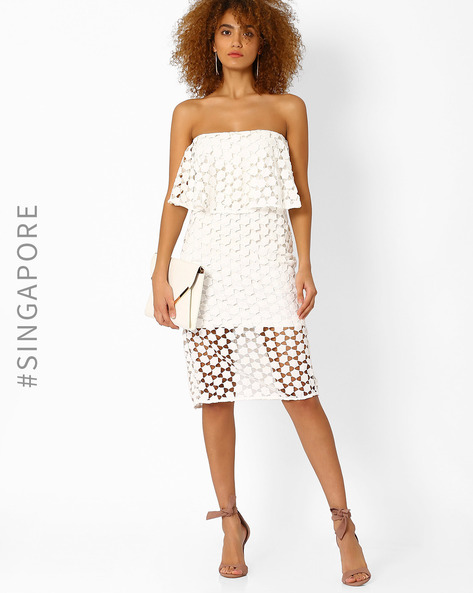 Stylised Tube Dress With Cut-Outs By MDS ( White )
