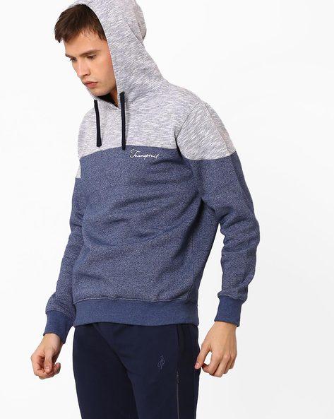 Cut & Sew Sweatshirt With Hoodie By Teamspirit ( Navy )