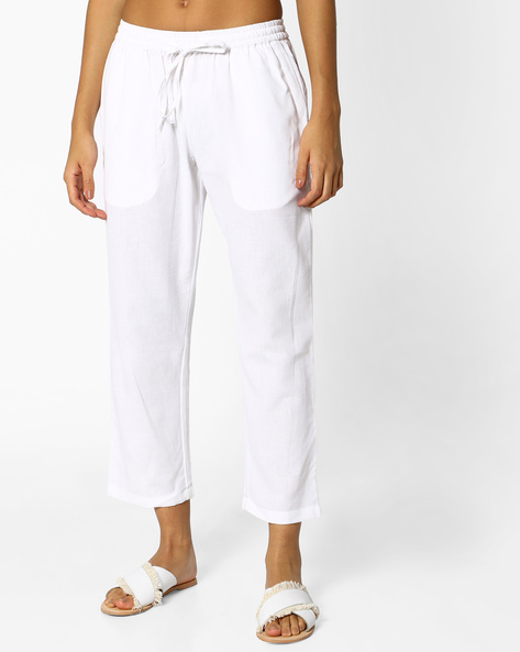 Cropped Pants With Drawstring Fastening By PE IW Casual ( White )