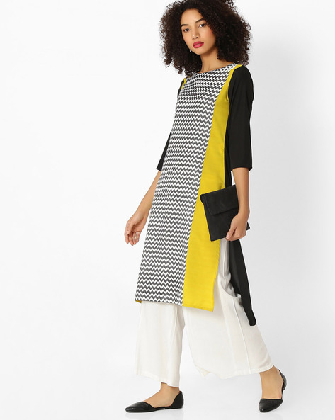 Chevron Print Colourblock Kurta By AVAASA MIX N' MATCH ( Olive )