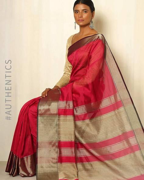 Handwoven Maheshwari Cotton Silk Saree By GoCoop ( Red ) - 460041353001