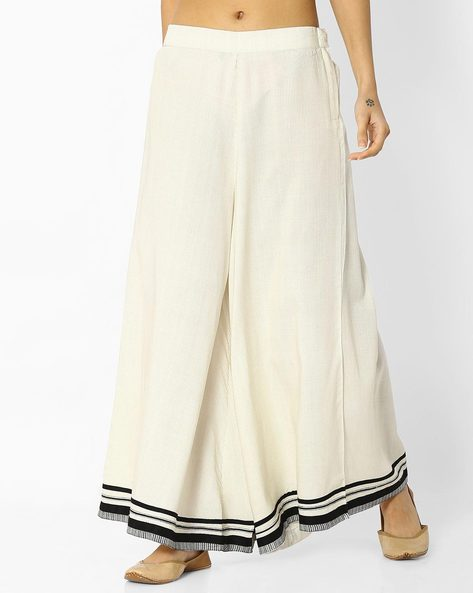 Printed Palazzos With Contrast Hems By W ( White )