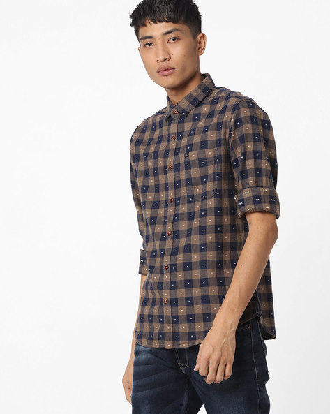 Slim Fit Checked Shirt With Patch Pocket By The Indian Garage Co ( Khaki )