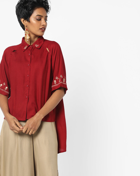 High-Low Shirt With Embroidered Hems By AJIO ( Red )
