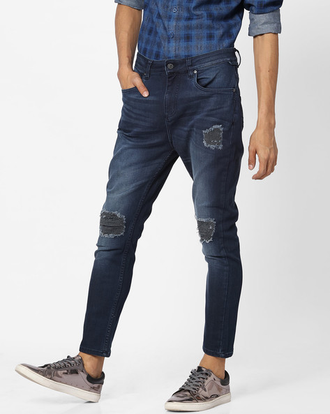 Distressed Slim Fit Jeans With Whiskers By Blue Saint ( Indigo )