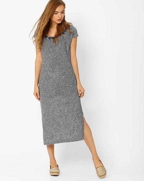 Midi Dress With Embellished Neckline By AJIO ( Grey )