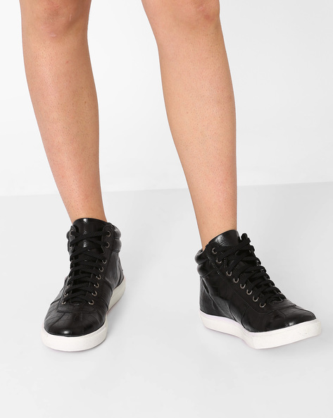 Textured High-Top Sneakers By AJIO ( Black )