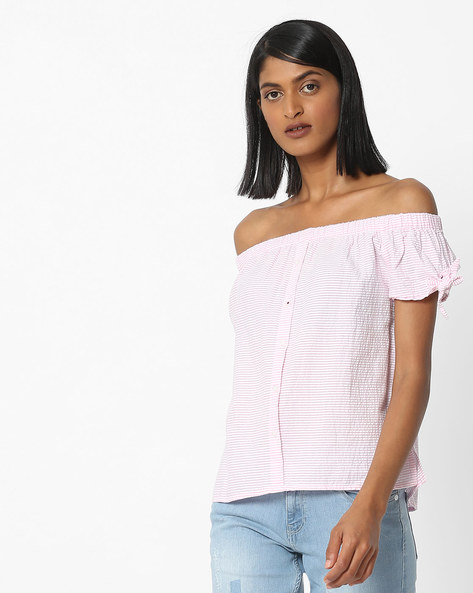 Striped Off-Shoulder Top With Button Placket By DNMX ( Pink )