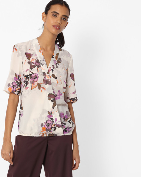 Floral Print Blouson Top By Vero Moda ( White )