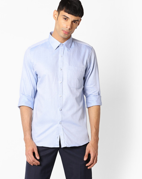 Slim Fit Shirt With Patch Pocket By VIMAL APPARELS ( Blue ) - 438030219003