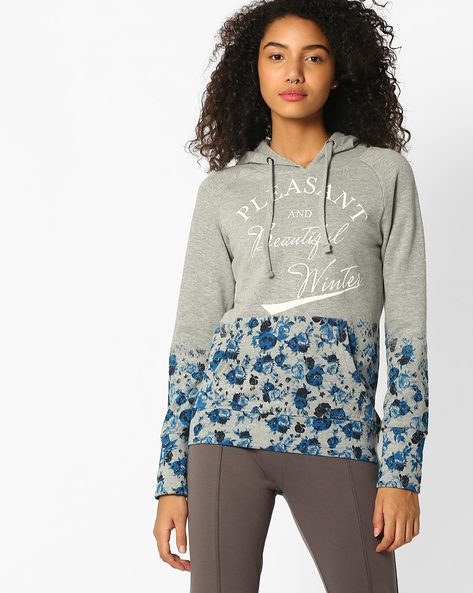 Hooded Sweatshirt With Kangaroo Pocket By TEAM SPIRIT ( Greymelange )