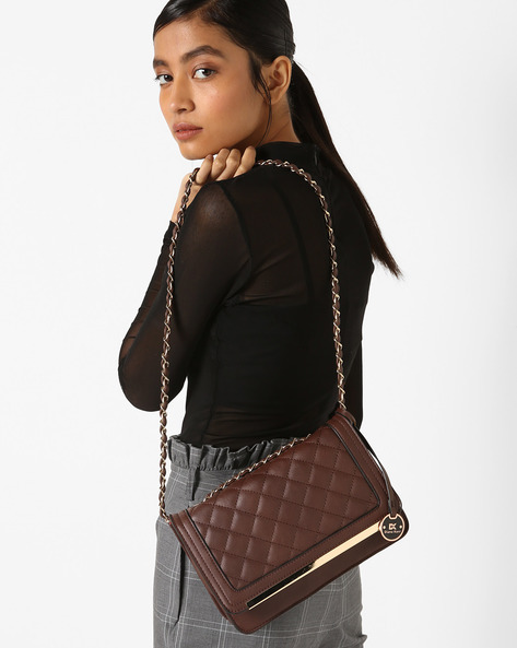 Quilted Sling Bag By Diana Korr ( Brown )