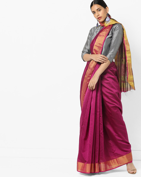 Saree With Contrast Border By Florence ( Pink )