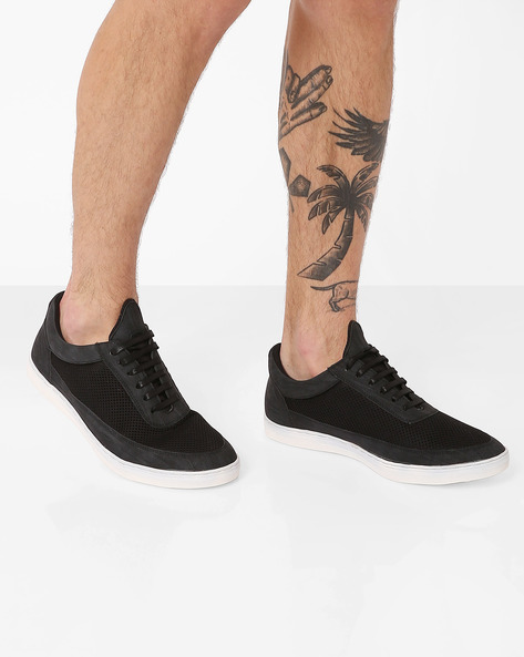 Low-Cut Faux-Leather Sneakers By AJIO ( Black )
