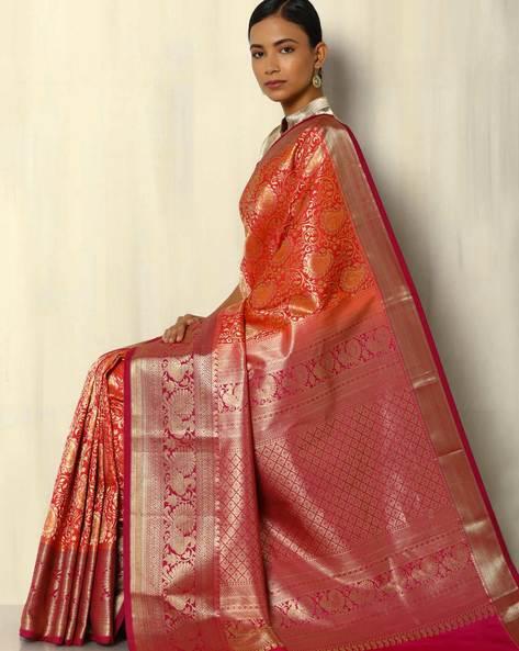 Zari Brocade South Silk Saree By Pretty Woman ( Red )