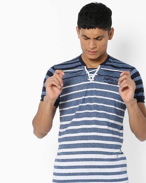 Striped T-shirt With Front Tie-Up By Teamspirit ( Blue )