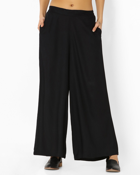 Palazzo Pants With Pockets By Melange By Lifestyle ( Black )