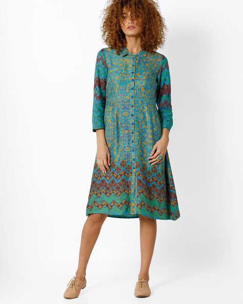 Printed A-line Dress With Collar By Global Desi ( Multi )