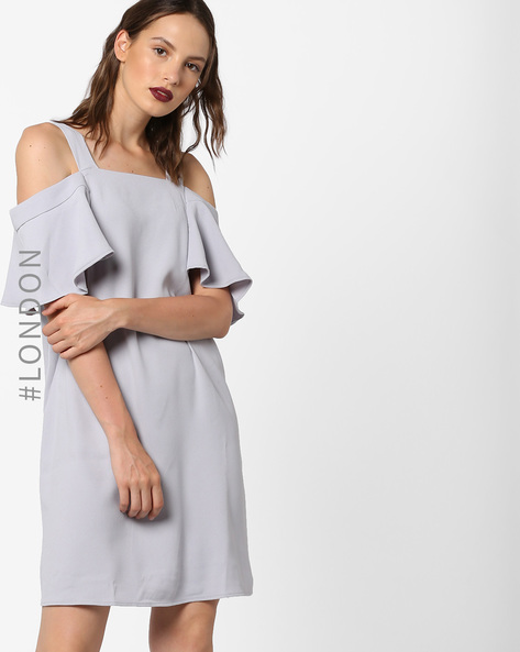 Cold-Shoulder Shift Dress By Glamorous ( Lightgrey )