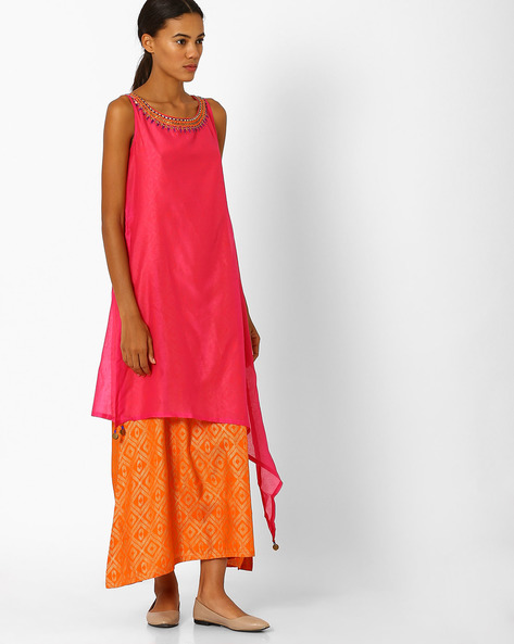Sleeveless Tiered Dress By Global Desi ( Pink )