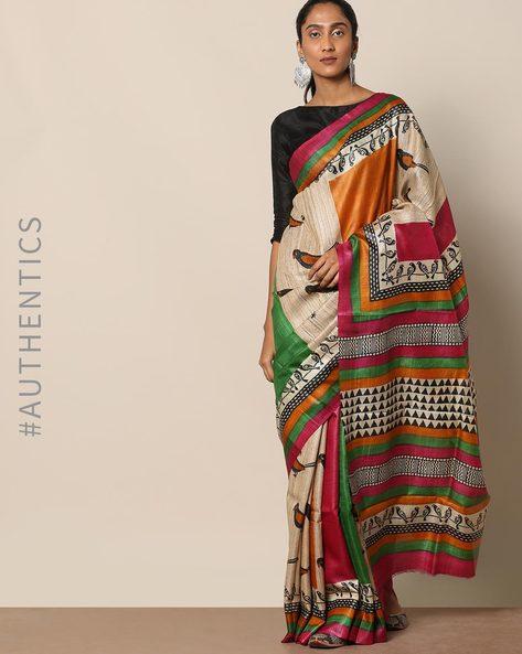 Handloom Pure Silk Tussar Ghicha Printed Saree By Indie Picks ( Multi ) - 460146992001