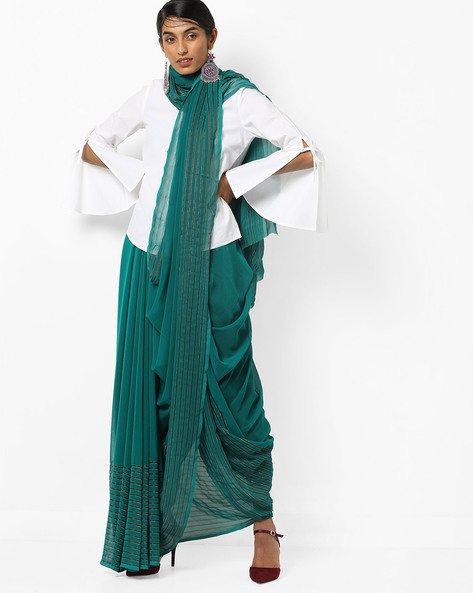 Chiffon Saree With Striped Border By Florence ( Green )