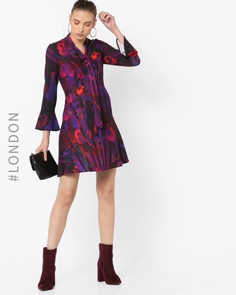 Printed Fit & Flare Dress With Tie-Up By Closet London ( Multi )