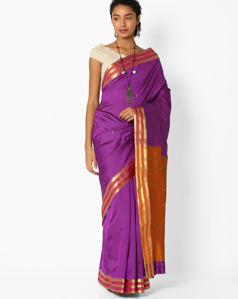 Art Silk Saree With Zari Work By Amori ( Purple )