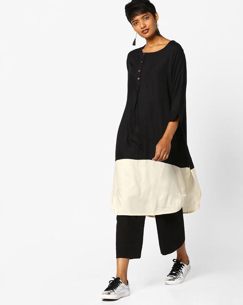 Straight Kurta With Curved Hem By PE IW Casual ( Black )