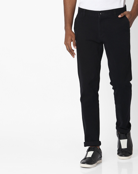 Mid-Rise Cotton Chinos By British Club ( Black )