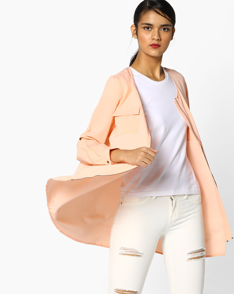 Shirt Tunic With Flap Pockets By Project Eve WW Casual ( Peach )