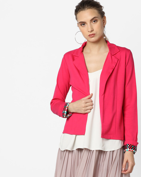 Open-Front Jacket With Printed Sleeves' Hems By And ( Pink )
