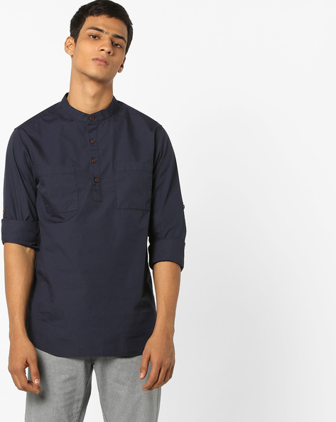 Slim Fit Cotton Shirt With Band Collar By AJIO ( Navy )
