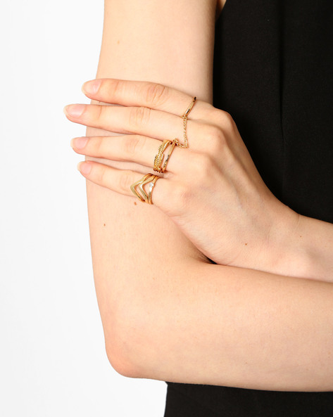 Set Of 5 Stackable Rings By Joker & Witch ( Gold )