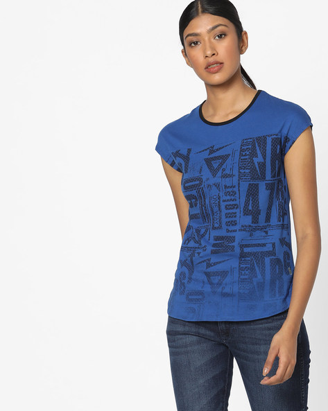 Printed T-shirt With Cap Sleeves By WRANGLER ( Darkblue )
