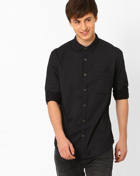 Polka-Dot Print Slim Fit Casual Shirt By Nature Casuals ( Black )