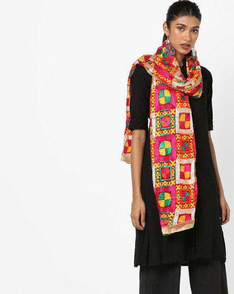 Embroidered Dupatta With Contrast Border By Dupatta Bazaar ( Multi ) - 460162521001