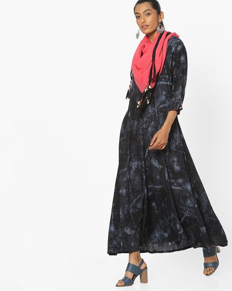 Printed Fit & Flare Maxi Dress By Shree ( Black )