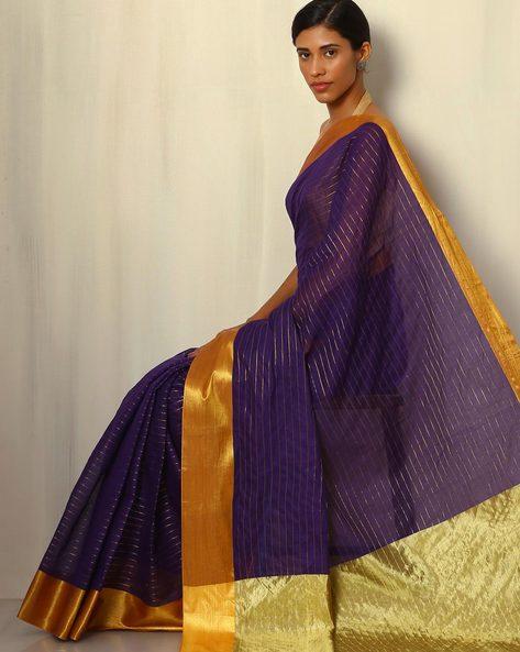Mercerised Cotton Stripe Saree With Zari By Indie Picks ( Purple )