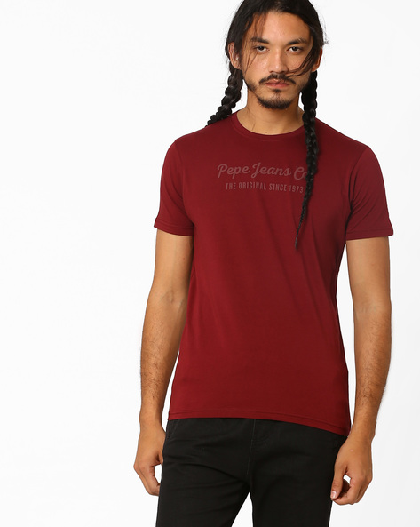 Slim Fit Cotton T-shirt By Pepe Jeans ( Burgundy )